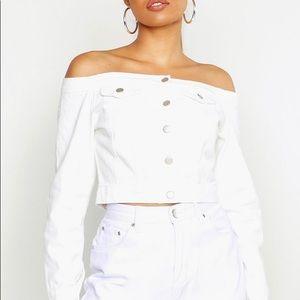 White off the shoulder denim shirt jacket
